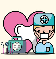 dentist boy tooth kit tools instrument treatment vector image