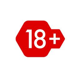 Eighteen plus years sticker badge hexagonal red vector