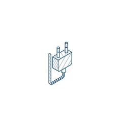 electric plug isometric icon 3d line art vector image