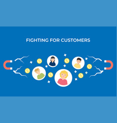 Fighting for customers flat vector