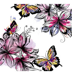 Floral background with flowers and butterflies vector