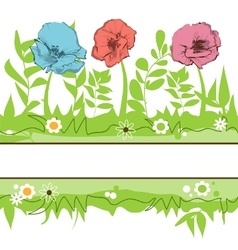 Floral borders Green grass and flowers field vector image