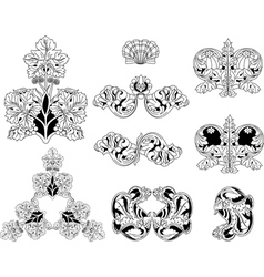 Floral ornament elements lineart vector image vector image