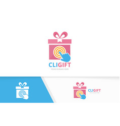 Gift and click logo combination present vector