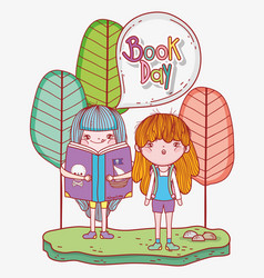 Girls read literature books with trees vector