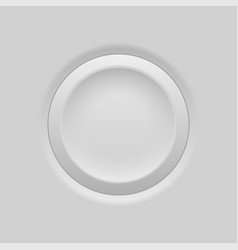 Gray round push button plastic embossed 3d vector