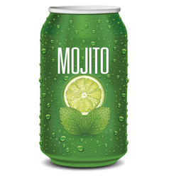 Green tin can with mojito text lime slice mint vector