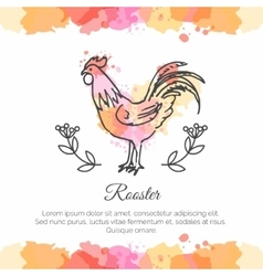 Hand drawn rooster 2017 Chinese New Year of the vector image