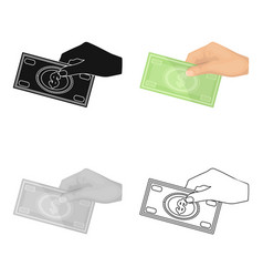 hands giving money icon in cartoon style isolated vector image