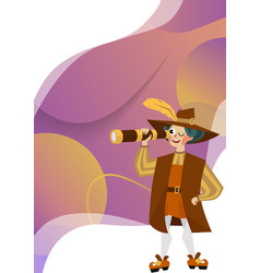happy columbus day with columb looking at spyglass vector image