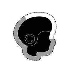 Head human with helmet motorcycle vector