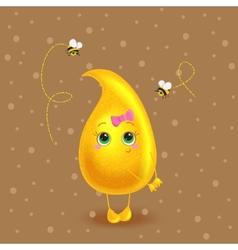 Honey drop character Cute cartoon vector