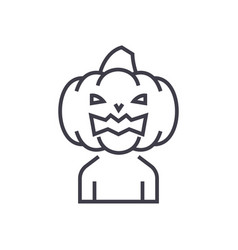 horror pumpkin line icon sig vector image