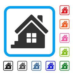 House porch framed icon vector