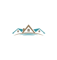 House roof construction business logo 2 vector