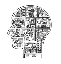 Human head house engraving vector