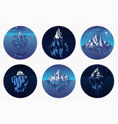 iceberg in ocean set a large piece vector image