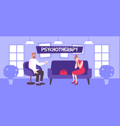 Indoor psychotherapy flat composition vector