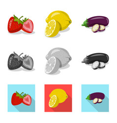 Isolated object of vegetable and fruit symbol vector