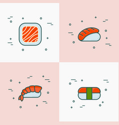 japanese food thin line icons of sushi and rolls vector image