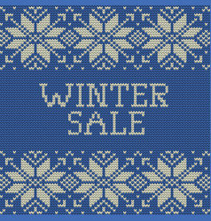 Knitted winter sale template banner eps 10 vector