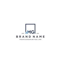 Letter mg square logo finance design vector