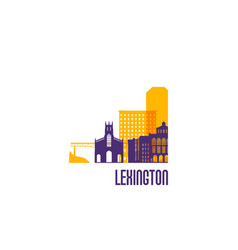 lexington city emblem colorful buildings vector image