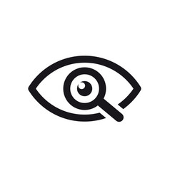 Magnifier with eye outline icon find icon vector