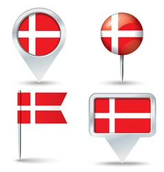 Map pins with flag of Denmark vector