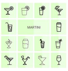 martini icons vector image