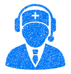 Medic call center grunge icon vector