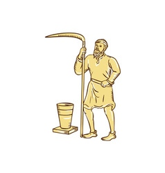 Medieval Farmer Holding Scythe Etching vector image
