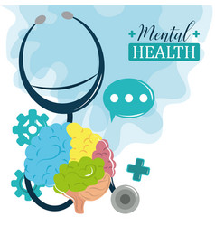Mental health day stethoscope brain cognitive vector