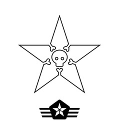 Minimal monochrome vintage star with skull and vector