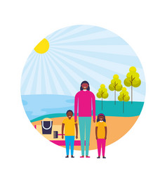 mother with son and daughter shore sand landscape vector image
