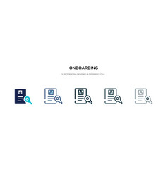 Onboarding icon in different style two colored vector