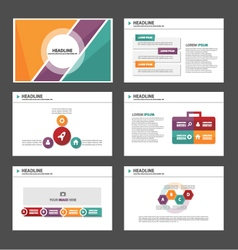 Orange purple green presentation templates set vector