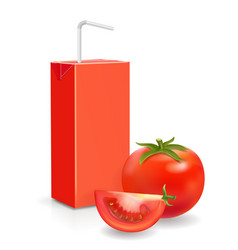 pack of tomato juice and straw vector image