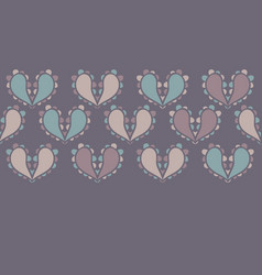 Paisley hearts design border seamless vector