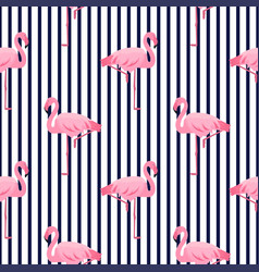 pink flamingo seamless striped pattern summer vector image