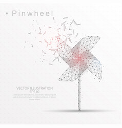 Pinwheel digitally drawn low poly triangle wire vector