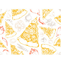 pizza seamless texture pattern vector image