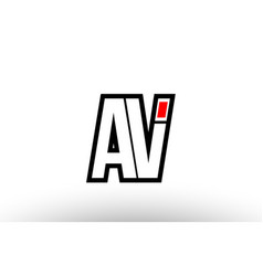 red and black alphabet letter av a v logo vector image