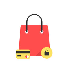 Red bag icon like protected shopping vector
