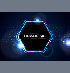 retro neon 80s shiny hexagon abstract background vector image