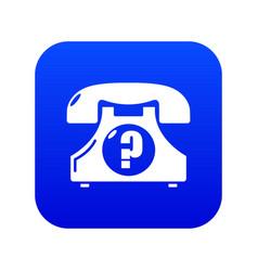 retro phone icon blue vector image