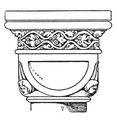 Romanesque double-cushion capital vintage vector