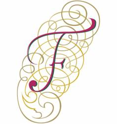 Script letter f vector