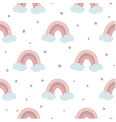 seamless pattern with pink rainbow clouds stars vector image