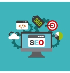 search engine optimization flat icons vector image
